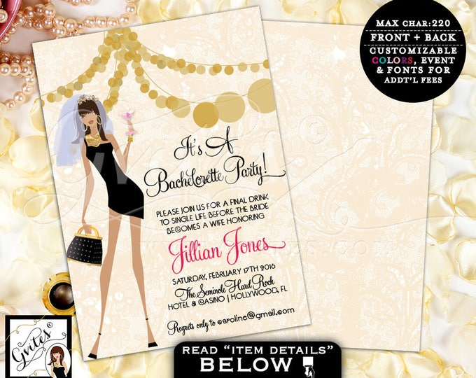 Gold Bachelorette Party Invites, American Bachelorette Invitation, bridal shower printable template, glitz glam, pink and gold, 5x7