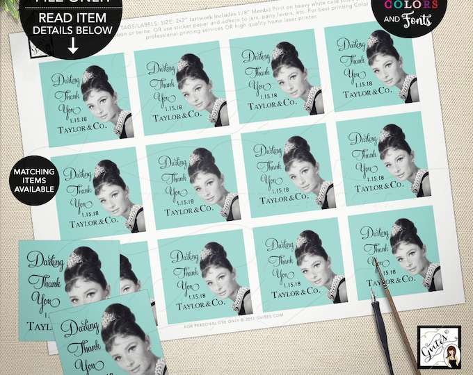 "Thank you Tags, Labels, Favors gifts, Bridal Shower, Printable Audrey Hepburn Party Themed.  2x2"" 12 Per/Sheet by Gvites"