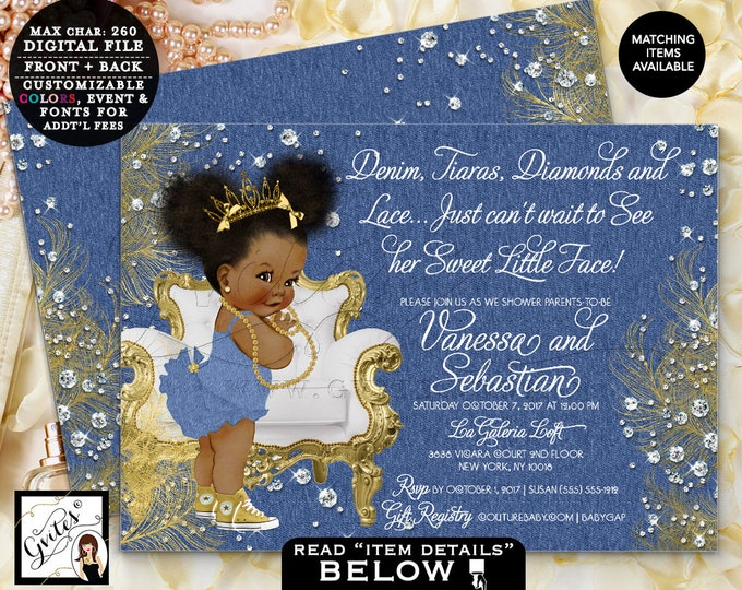 """Denim and Diamonds Invitations, Denim, Tutus, Diamonds and Lace Baby Shower Gold Tiara African American, Afro Puffs 7x5"""" Gvites"""