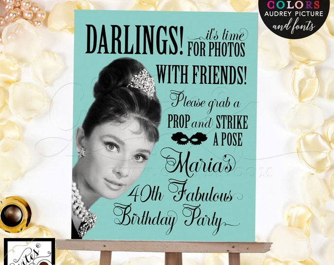 Audrey Hepburn Photo Booth Sign, 40th Birthday Decorations, Decor, Breakfast at Co Theme, Vintage, Diamonds Pearls Adult Party Women.