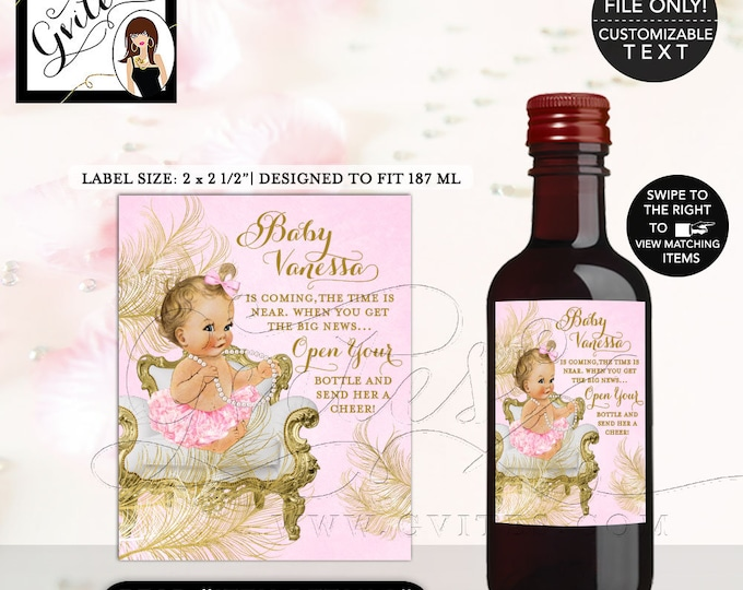 "MINI Wine Baby Shower Labels Pink and Gold favors gifts, stickers party bottle wrappers label digital 2x2.5"" 12 Per/Sh {White/Gold Feathers}"
