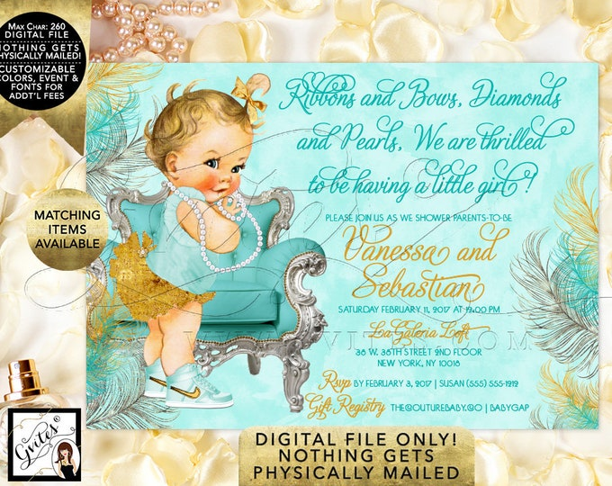 Ribbons and Bows Diamonds and Pearls Baby Shower Invitations, Vintage Baby Girl, Turquoise Blue and Gold. Printable Invites, 7x5""
