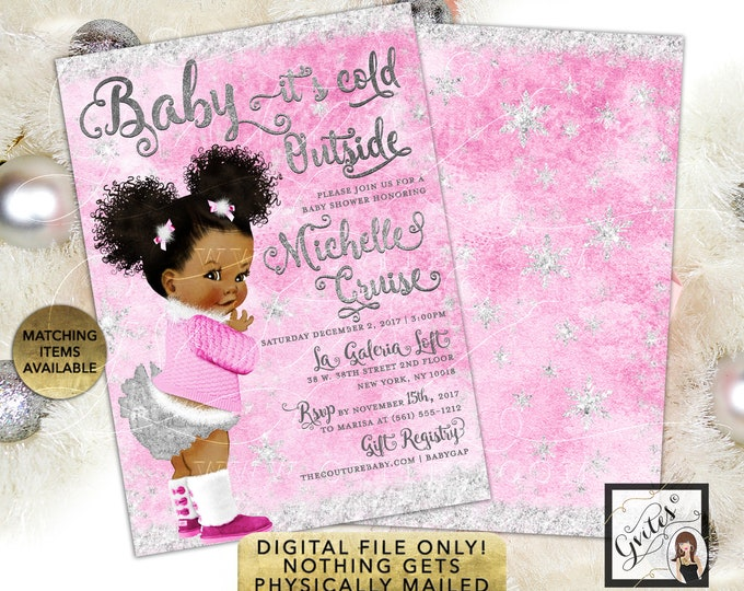 Pink and Silver Winter Invites, Baby it's Cold Outside Invitations, Wonderland African American Vintage Baby Girl. Printable, Digital File!