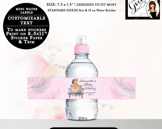 """MINI Water Labels Baby Shower Bottle Label wrapper, favors stickers, 8oz-12oz. 7.5 x 1.5""""/7 Per Sheet {Feathers: Silver/White/Pink}"""