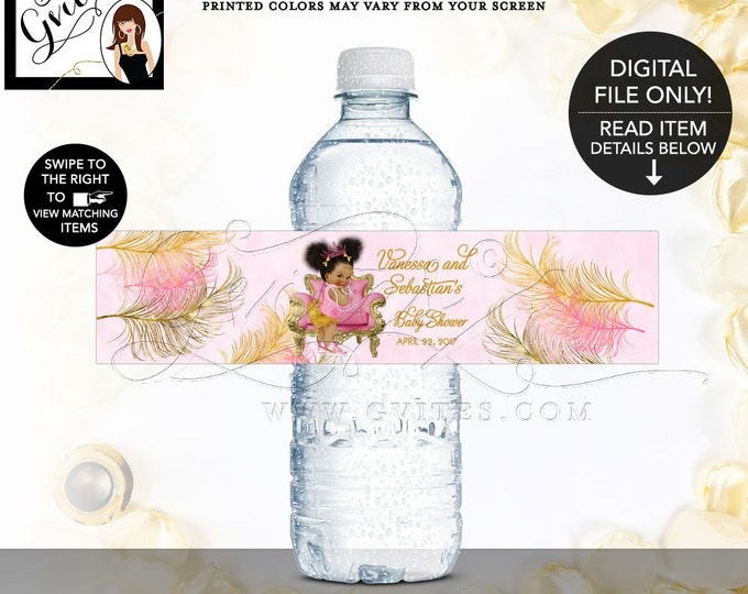Water Bottle Labels Pink and Gold Baby Shower Party Favors Gifts Tiaras Diamonds Pearls, African American Princess {Pink/Gold Feathers}