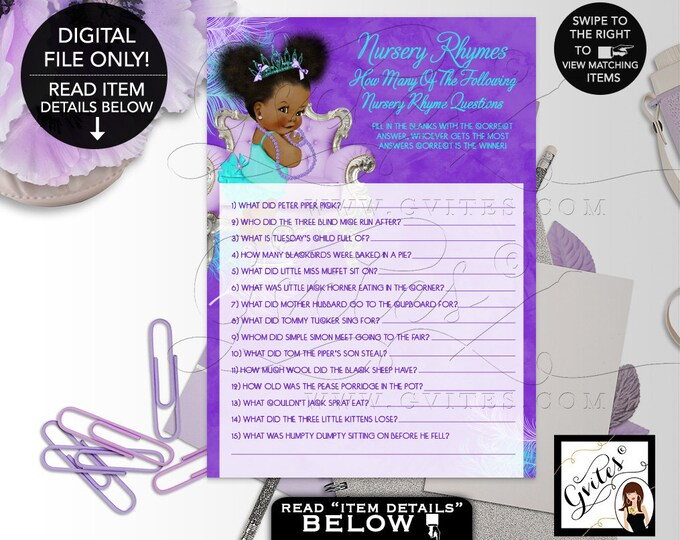 "Nursery Rhymes Baby Shower Game, Quiz Purple Lavender Aqua Turquoise, Tiara Princess, Afro Puffs Girl 7x5"" 2 Per Sheet  {Instant Download}"