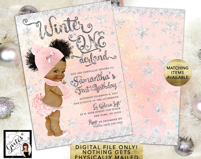 """Winter Onederland Invitation Afro Puffs Curly - Blush Pink and Silver Watercolor Digital Background Silver Snow Flakes, 5x7"""" Double Sided."""