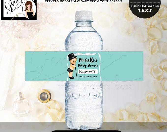 """Baby & Co Water Bottle labels, party favors, blue baby shower label stickers tags, gifts, wrapper breakfast at. 8x2"""" 5 Per/Sheet."""