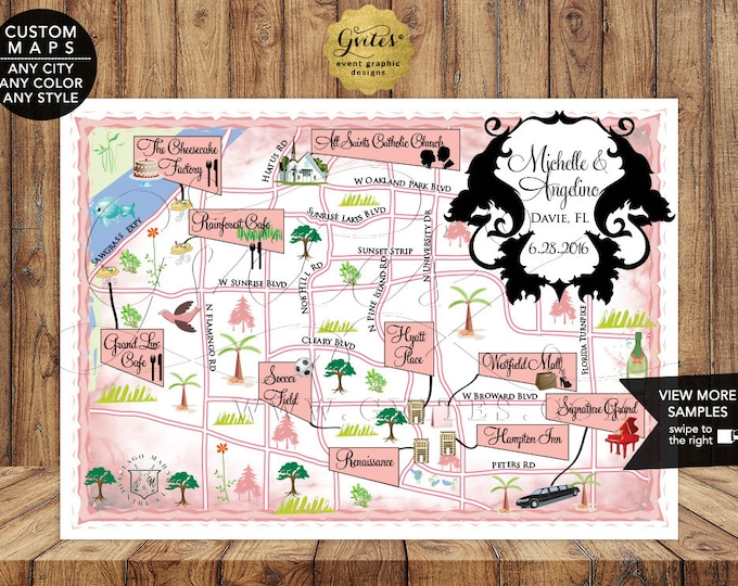 Florida Wedding Maps Custom Graphic Designs. Digital File Only. Welcome To Our Wedding Personalized Map.