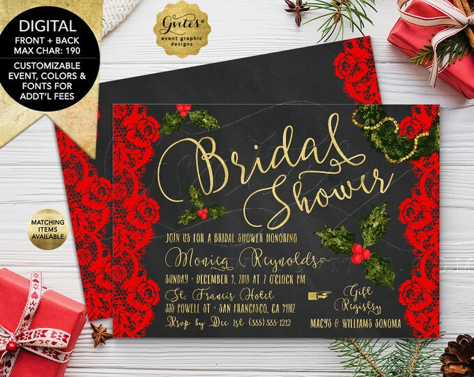 Bridal Shower Printable Invitation. Christmas Themed with Red Floral Vintage Lace and Chalk Background. Holiday Invites. 7x5 Double Sided.