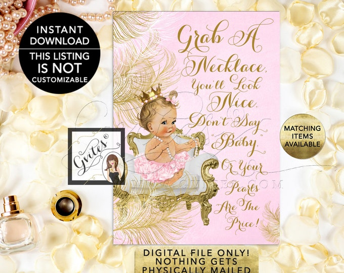 """Don't Say Baby Necklace Game, Princess Pink & Gold Princess Baby Shower, Digital 5x7"""" Skin Tone: Light/Blonde {White/Gold Feathers}"""