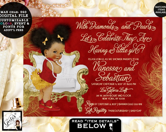 Red and Gold Baby Shower Invitation, diamonds and pearls invitations Afro puffs vintage girl, ethnic African American Printable. Gvites
