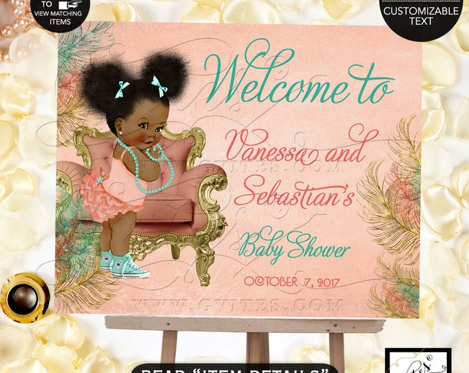 Welcome Baby Shower Signs, Mint and Coral, Decorations, Afro Puffs, african american diamonds pearls, DIGITAL FILE! Gvites