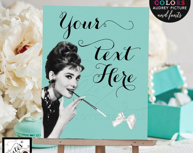 """Audrey Hepburn custom quotes signs, printable poster quote sign, breakfast at, and co quotes, bride and co, Digital File Only! 8x10"""""""