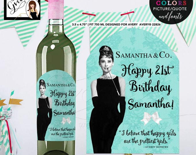 Breakfast at Audrey Hepburn Happy Birthday Wine LABELS bottle label, sticker. {Designed For Avery® 22826} PRINTABLE