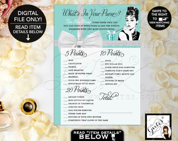 "What's in your purse game bridal shower, Audrey Hepburn, Breakfast at and Co themed Games, Printable, DIGITAL 5x7"" 2 Per Sheet. Gvites"