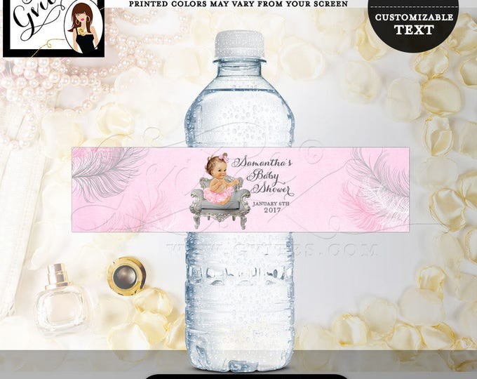 """Pink & Silver Water Labels, Baby shower, diamonds pearls, favor gifts, vintage baby girl party stickers 8x2"""" {Feathers: Silver/White/Pink}"""