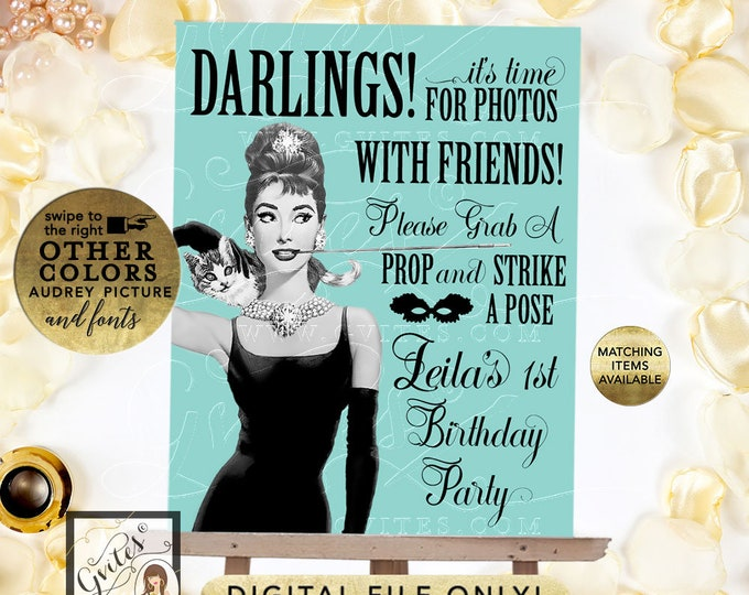 """Photo Booth Sign Birthday Party Breakfast at Audrey's Themed, Blue and Black. Printable Decor, 8x10"""""""