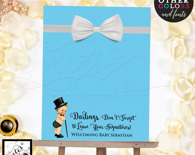 Guest Book Alternative poster sign, customizable baby shower, baby blue please sign our guestbook. Digital File Only!