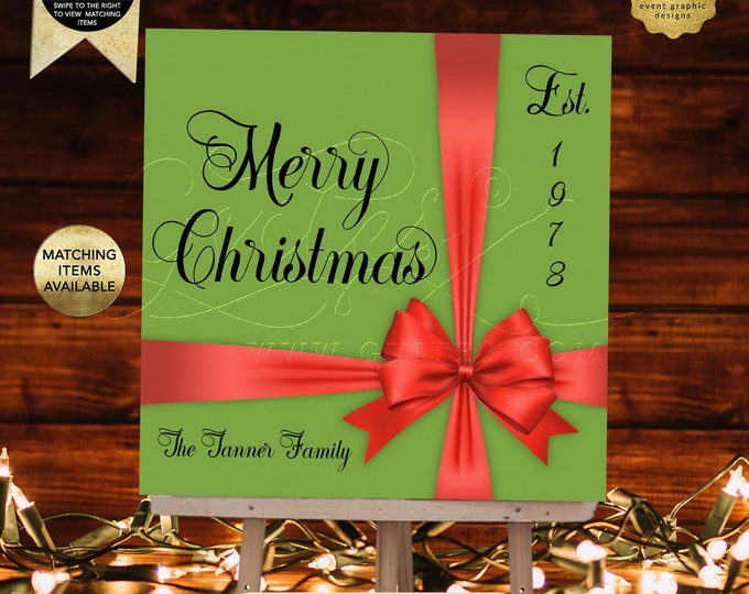 Merry Christmas Backdrop Banner Signs, Photo Family Holiday Decorations, Dinner Signage Welcome Entrance, Printable, Digital, DIY.