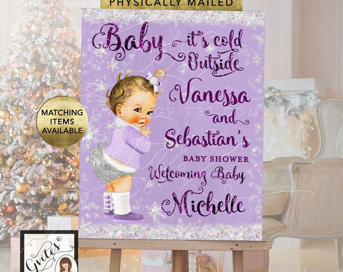 Baby Shower Welcome Sign Lavender and Silver - baby its cold outside winter wonderland printable signs, Digital File Only!