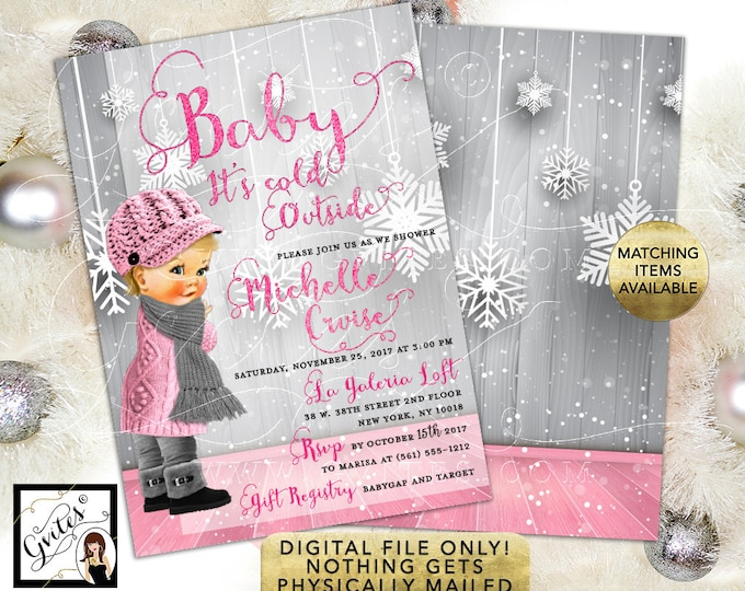 Baby It's Cold Outside, Baby Shower Invitation, pink silver winter wonderland girl printable invitations, 5x7 double sided. Gvites