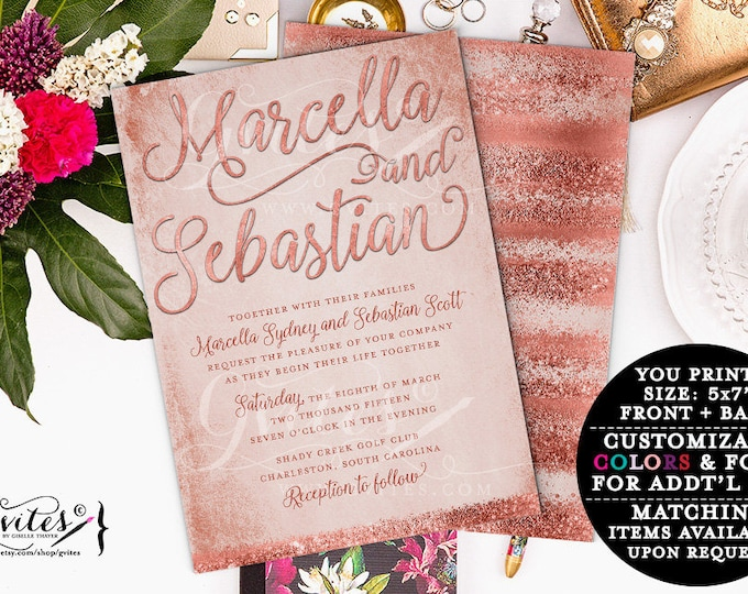 Blush and Rose gold glitter wedding invitation, pink and gold invitations, printable invites, glitter modern, double sided, 5x7.