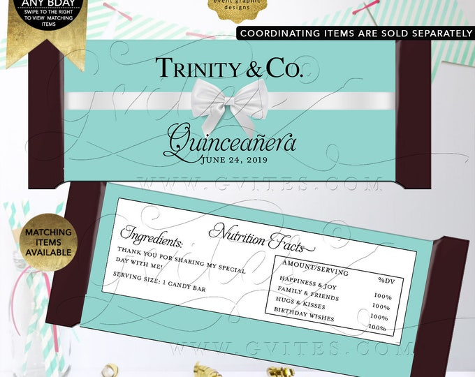 """Quinceañera Candy Bar Wrappers 