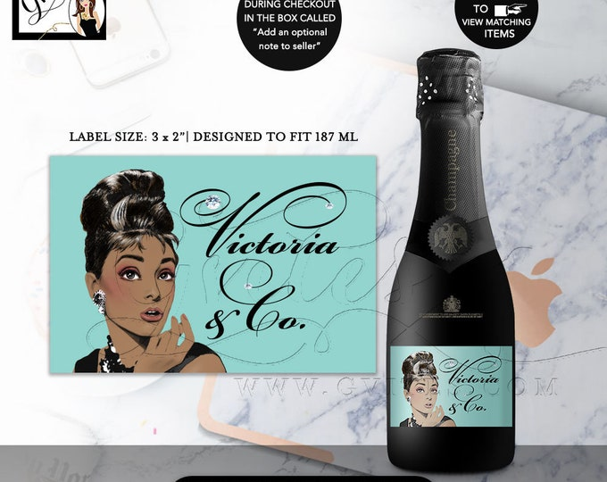 "MINI Champagne Labels Audrey Hepburn Printable Invitation, 40th Birthday Breakfast at, African American, DIY, Digital. 3x2""/9 Per Sheet."