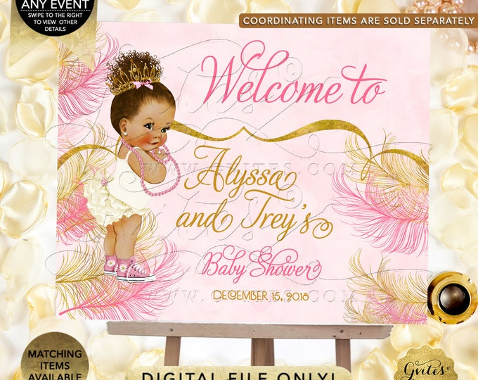 African American Baby Girl Welcome Sign | Printable Digital File | JPG + PDF | Customizable Text | By Gvites