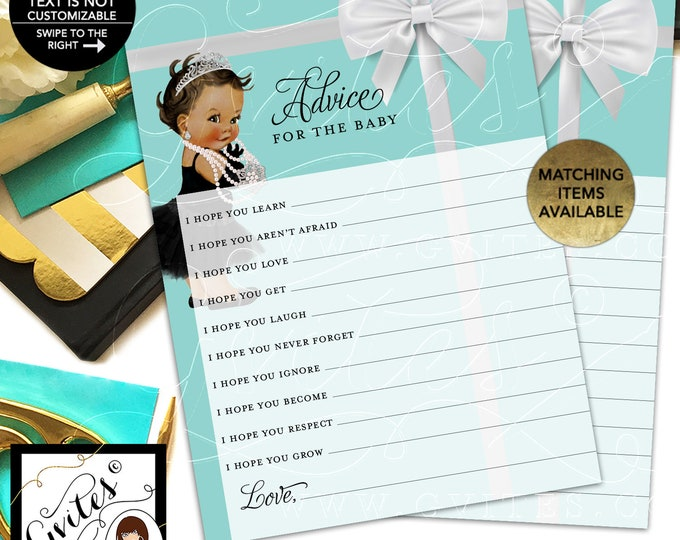 """Advice For Baby and Co Shower Printable. 5x7""""/2 Per Sheet {INSTANT DOWNLOAD/Baby: Med Brunette}"""