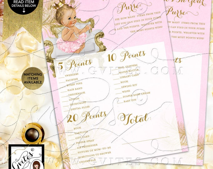 "What's In Your Purse Pink and Gold Cards Princess Baby Shower, Digital Game Girl Vintage, Printable 5x7"" 2/Per Sheet {White/Gold Feathers}"