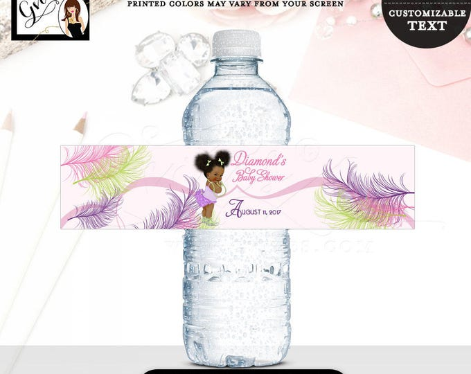 """Water bottle labels, baby shower, pink purple green, African American, stickers, afro puffs little girl, 8x2"""" 5 Per Sheet"""