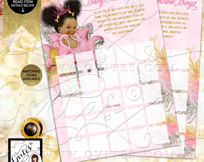 Baby Shower Bingo Cards Pink Silver & Gold Printable Games, African American Princess INSTANT DOWNLOAD {Pink/Silver/Gold Feathers}