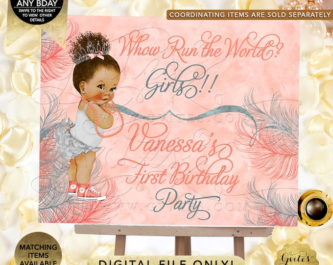 Who Run The World Welcome Baby Shower Signs | Afro Puffs Vintage | Printable Digital File | JPG + PDF | Customizable Any Bday!