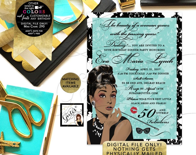 50 and Fabulous Invitations, Audrey Hepburn Printable, 50th women birthday party supplies, African American, DIY, Digital, 5x7.