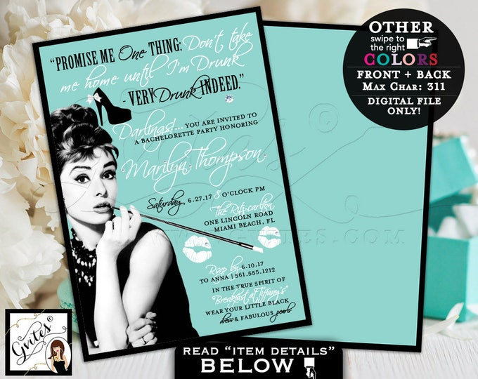 Breakfast Bachelorette party Audrey Hepburn printable invitation, bridal shower, double sided, 5x7. Digital File Only!