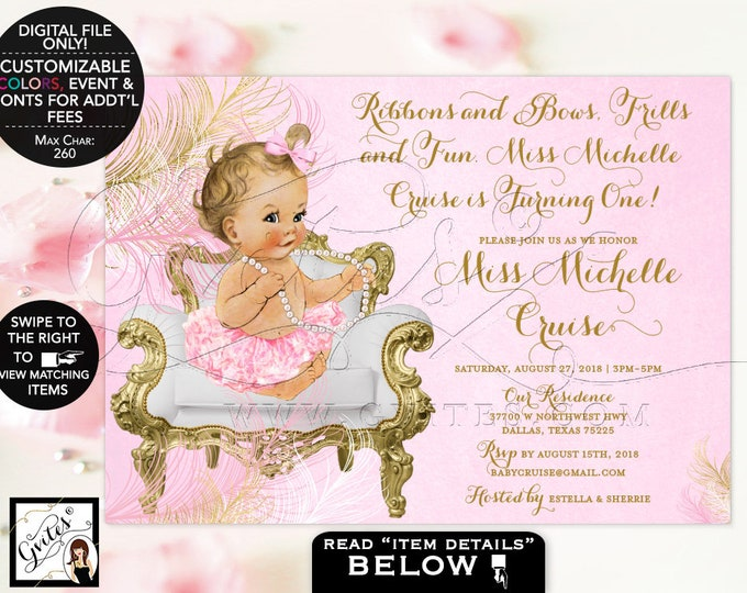 Pink and Gold First Birthday Invitation, vintage printable girl, digital invites, ribbons bows frills and fun. {Feathers: Gold/Pink/White}