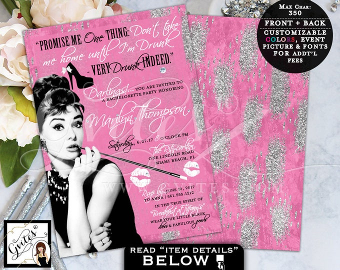 Pink and Silver Audrey Hepburn Custom Invitations, Bridal Shower Glitz and Glam, 1950s Breakfast at party invites, double sided, 5x7 Gvites