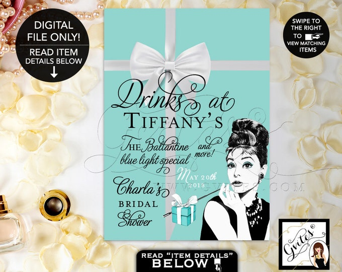 Drinks at Sign Personalized, Audrey Hepburn Party Signs, Thank You, Breakfast at, bridal shower decorations. {4x6 or 5x7}. Gvites