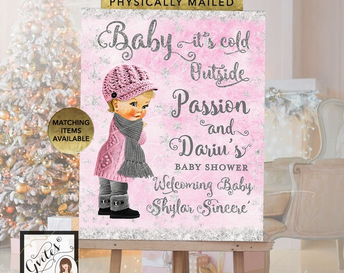 Welcome Sign Light Pink and Silver Winter, Baby it's Cold Outside Decor Wonderland Vintage Baby Girl. Printable, Digital File!