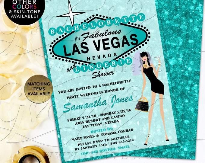 """Turquoise Blue Bachelorette and Lingerie Shower in Fabulous Las Vegas. Printable File, DIY, Double Sided, 5x7"""""""