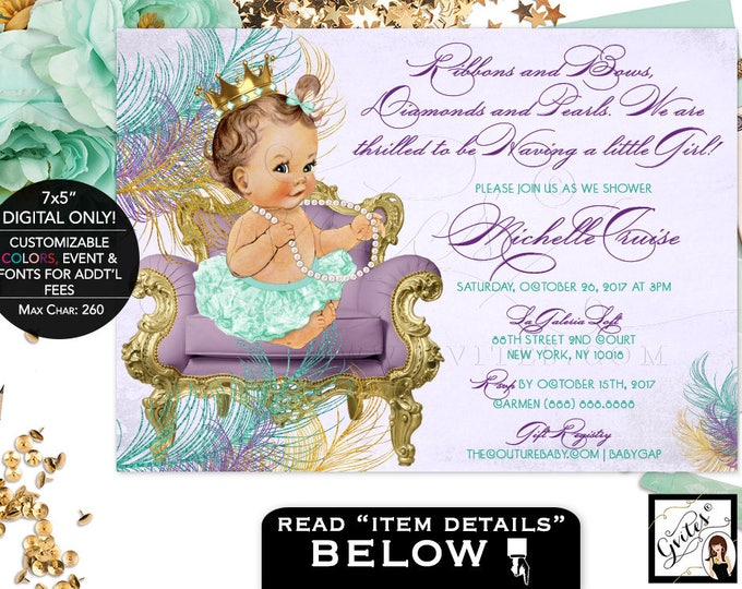 Vintage Baby shower invitation purple mint green gold, ribbons and bows, diamonds and pearls,  lavender teal gold girl invites, 7x5 Gvites