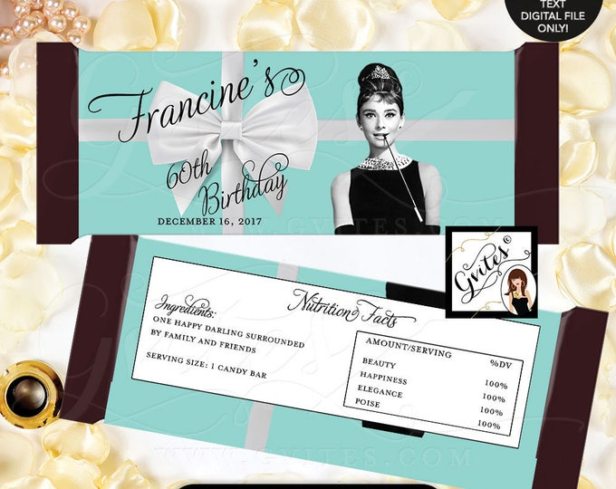"""Breakfast Themed Birthday Party Audrey Hepburn Party 60th Candy Bar Wrapper, chocolate wrapper, PRINTABLE {2 Per/Sheet 5.25 x 5.75""""}"""