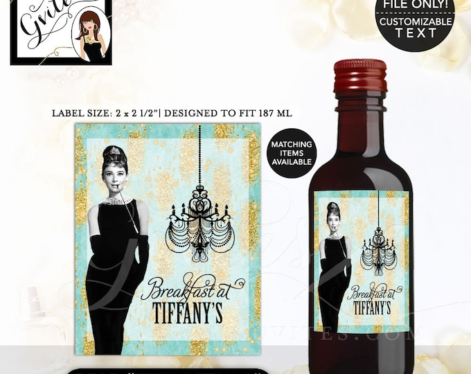 """Mini Wine Labels Audrey Hepburn Turquoise blue gold, Breakfast at and co themed party supplies. 2x2.5"""" 12 Per/Sheet."""