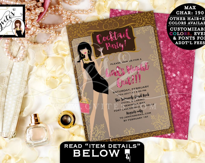 Pink and Gold Invitation, Girls Night Out Cocktail Party, Sophisticated, Modern Invitation Glitz and Glam PRINTABLE Double Sided 5x7.