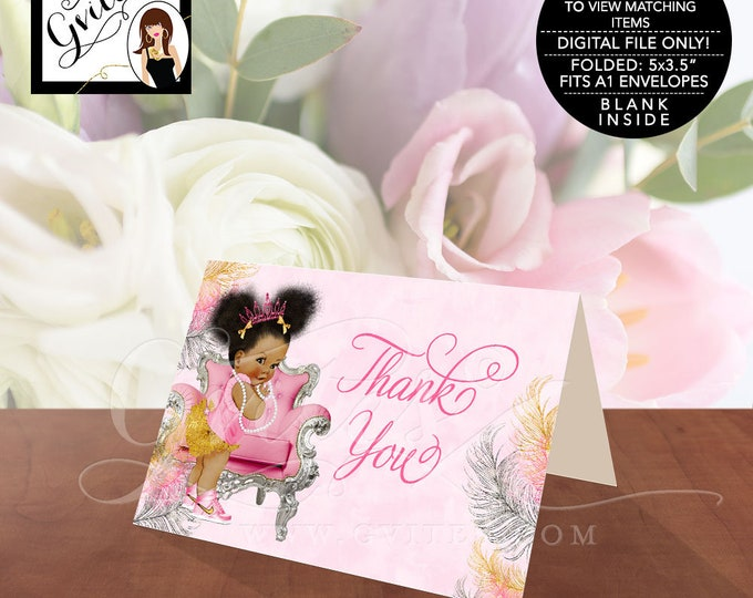 "Pink Gold Thank You Cards Baby Shower African American Princess Afro Puffs, INSTANT DOWNLOAD 5x3.5""/2 Per/Sheet {Pink/Silver/Gold Feathers}"