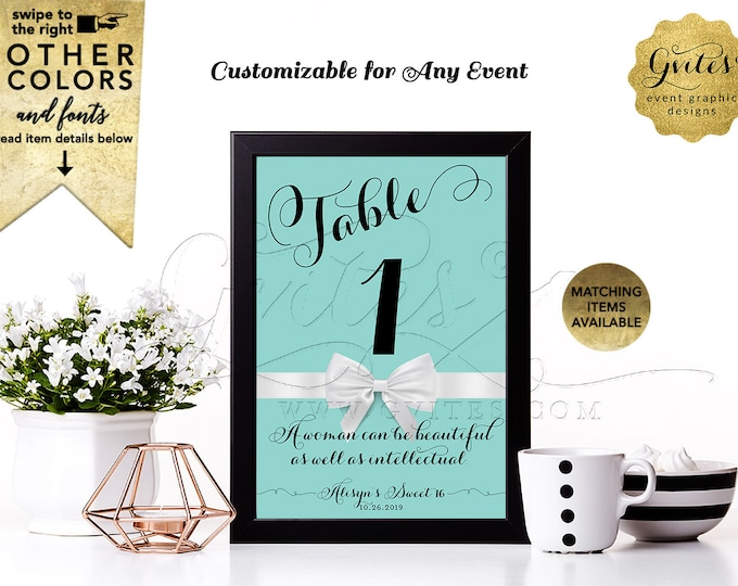 Sweet 16 Table Numbers with your favorite Audrey Hepburn quote or personal text | Printable Digital PDF + JPG format By Gvites