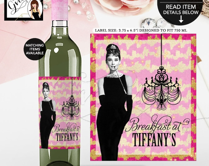 """Breakfast at Wine Bottle Label Audrey Hepburn Pink and Gold, stickers, party favors wrapper. {3.75x4.5""""/4 Per Sheet}"""