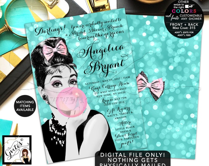 Breakfast at Bridal Shower invitation Audrey Hepburn wedding shower, DIGITAL 5x7, double sided, customizable Audrey party themed. Gvites